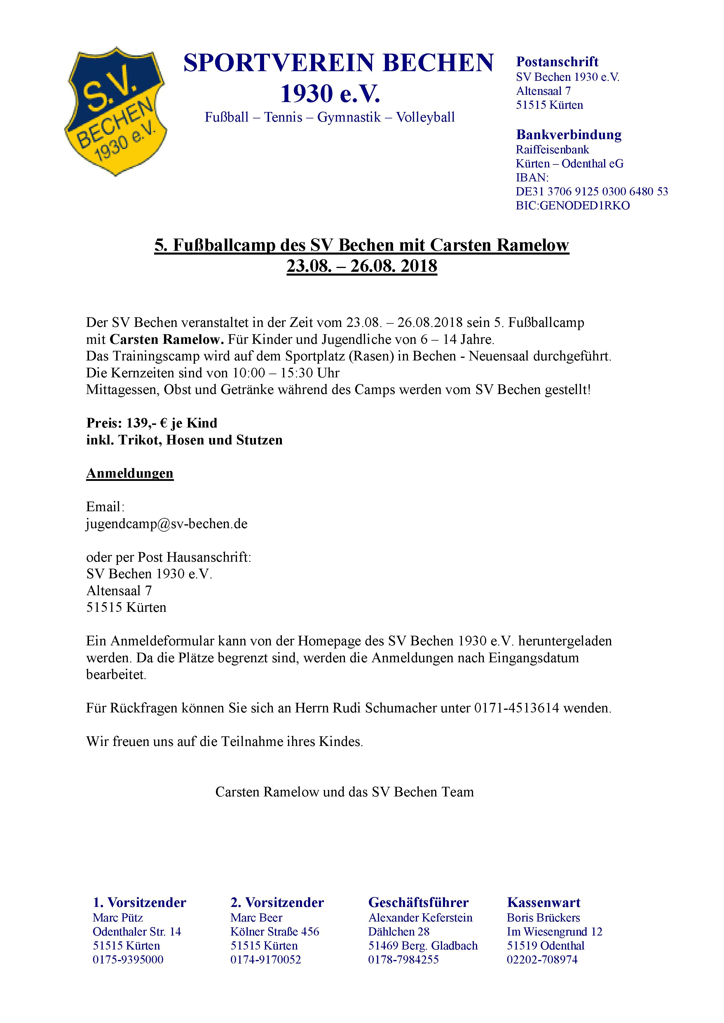 Einladung Jugendcamp 2018